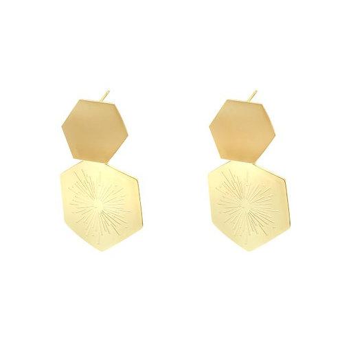 Gouden oorbellen vijfhoekig