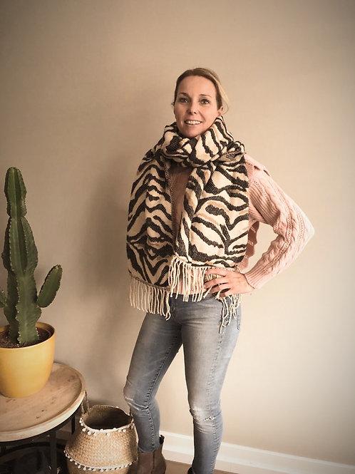 Heerlijk grote omslag shawl Zebra