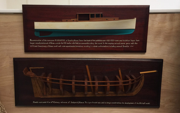 Half models in the Brooklin Keeping Society collection: a reconstruction of a rum runner Kickapoo c. late 1920's and a late 18th Century style hawks nest model of a schooner.