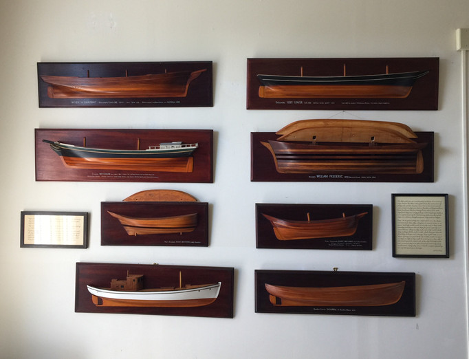 A Wall of half models at the Brooklin Keeping Society in Brooklin, Maine. These models were built under the inspiration  and patronage of Steve Parson & gifted to the Society.