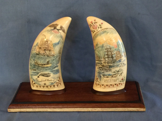 Custom Display Base for a matched pair of scrimshawed whales teeth.