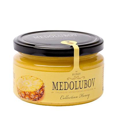 Взбитый мёд с ананасом 250 мл. Медолюбов