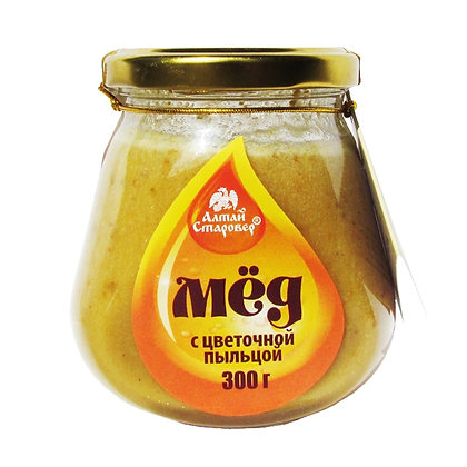 Мёд с цветочной пыльцой 300г.