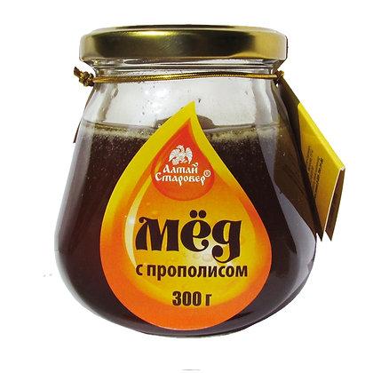 Алтайский мёд с прополисом 300г.