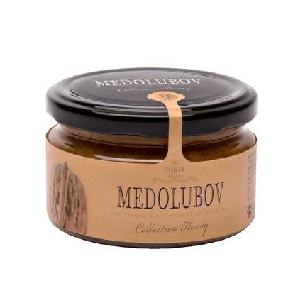 Взбитый мёд с грецким орехом 250 мл. Медолюбов