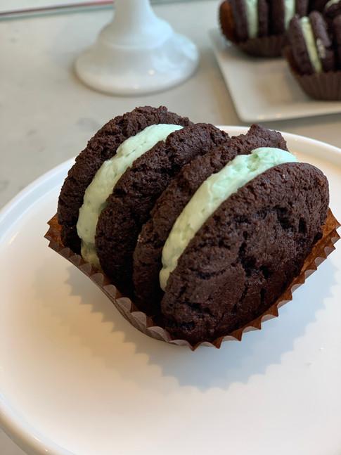 Double chocolate mint sandwich cookie