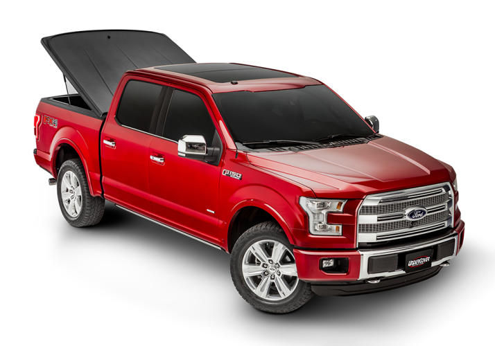 F150 pickup with the UNDERCOVER one piece truck tonneau cover installed.