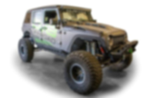 Close up of a lifted Jeep with the DV8 fender elimination kit installed.