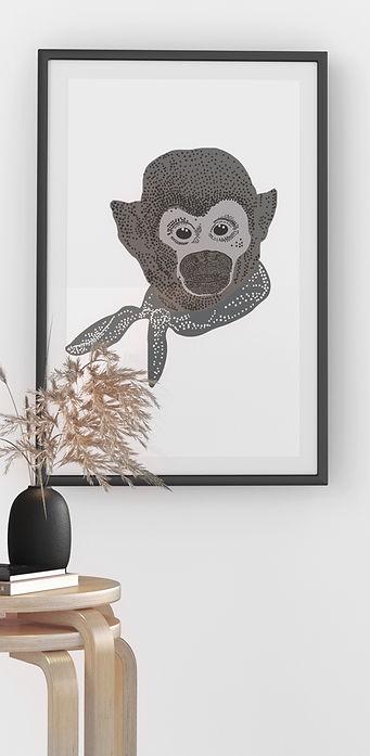 3d-visualisering av kontorshörna med en tavla av en apa med scarf