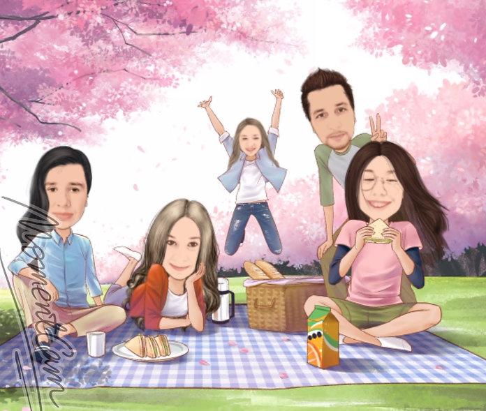famille qui fait un pique-nique