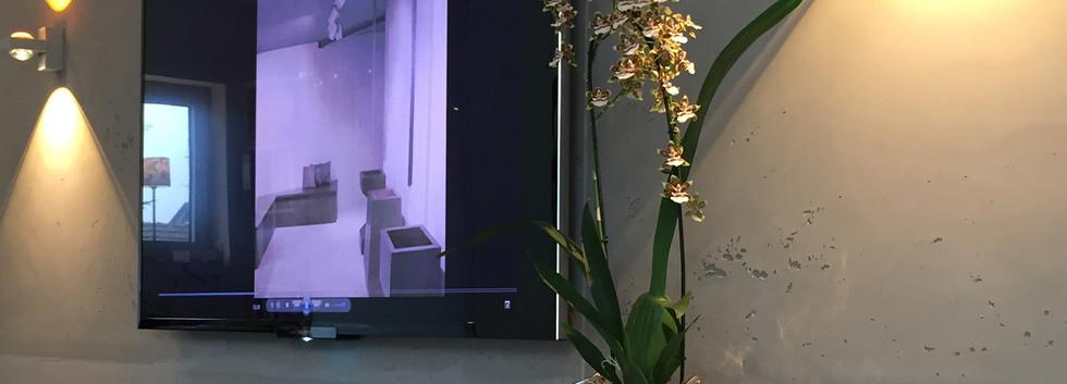 Sichtbetonoptik an TV Wand