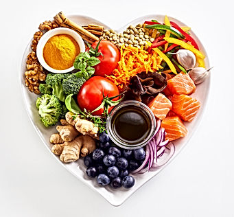Heart-shaped plate of healthy heart food