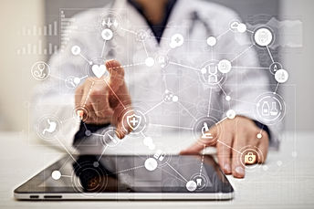 Medical doctor workingwith modern compu