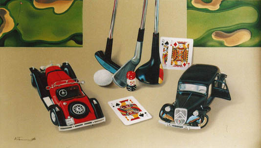 Golf Clubs with Retro Cars