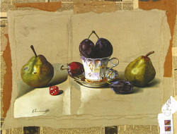 Still Life with Pears and Plums