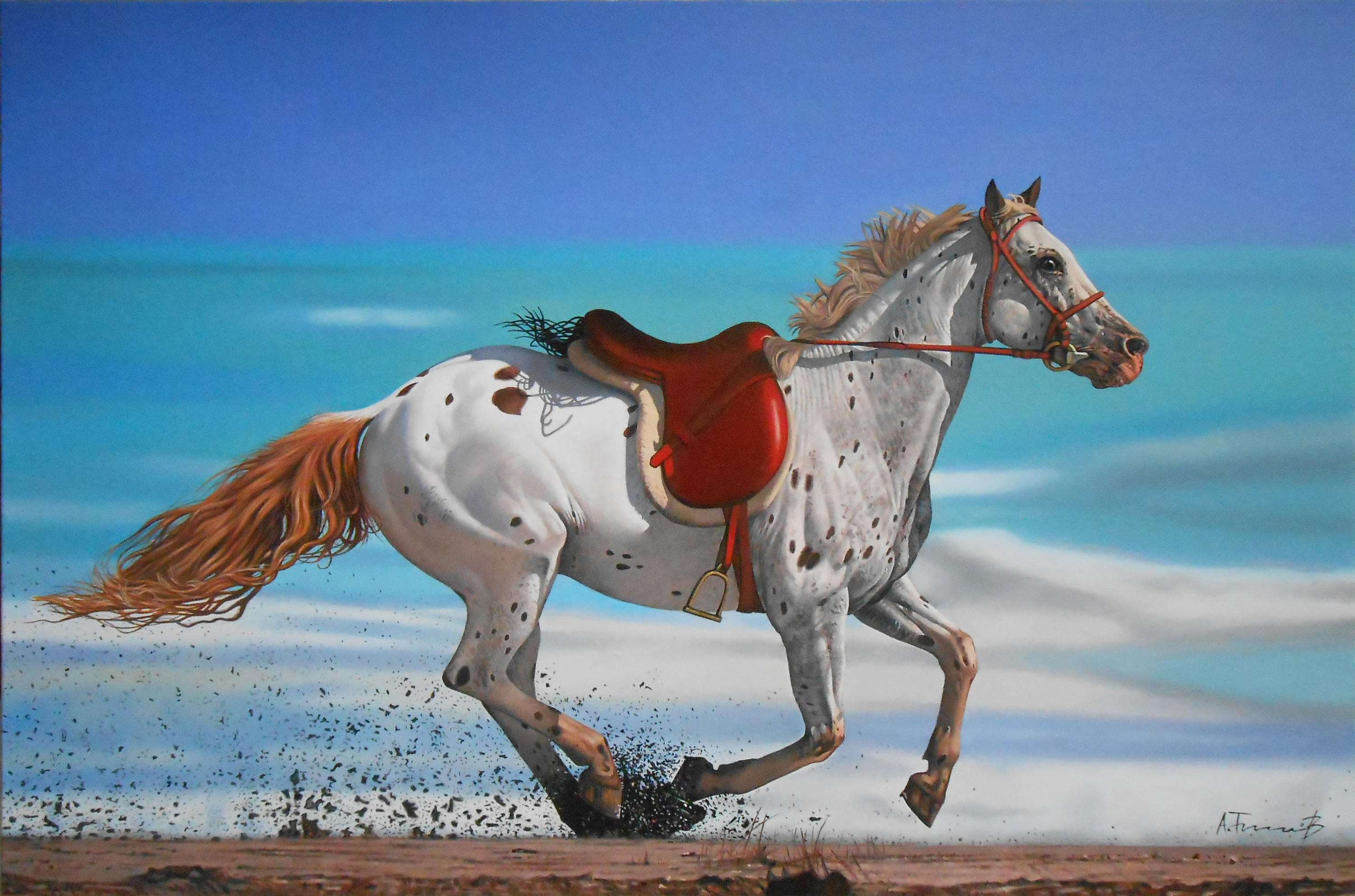 Horse with Red Saddle