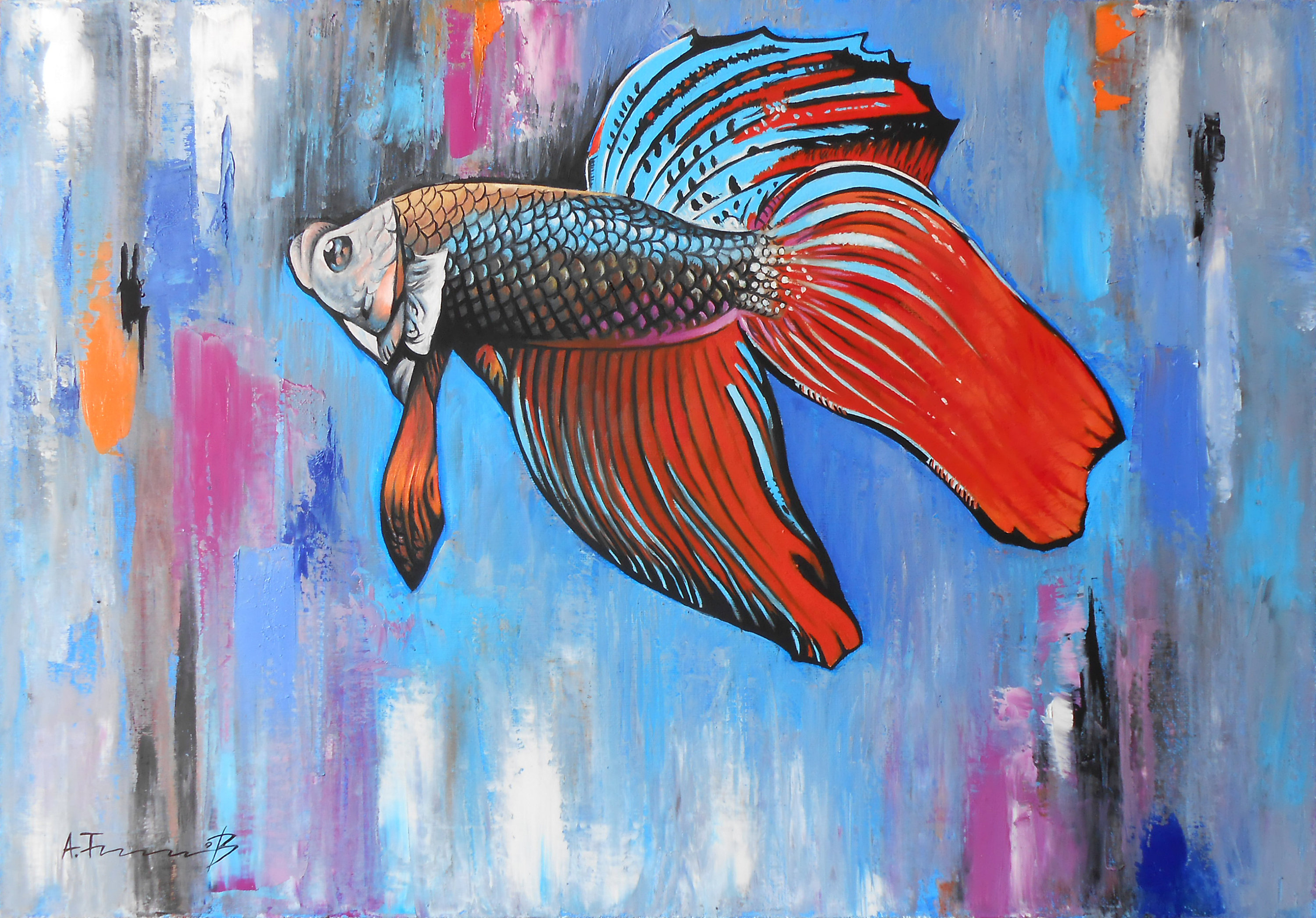 Fish with Abstract Background