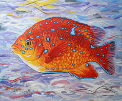 Fish on Abstract Background
