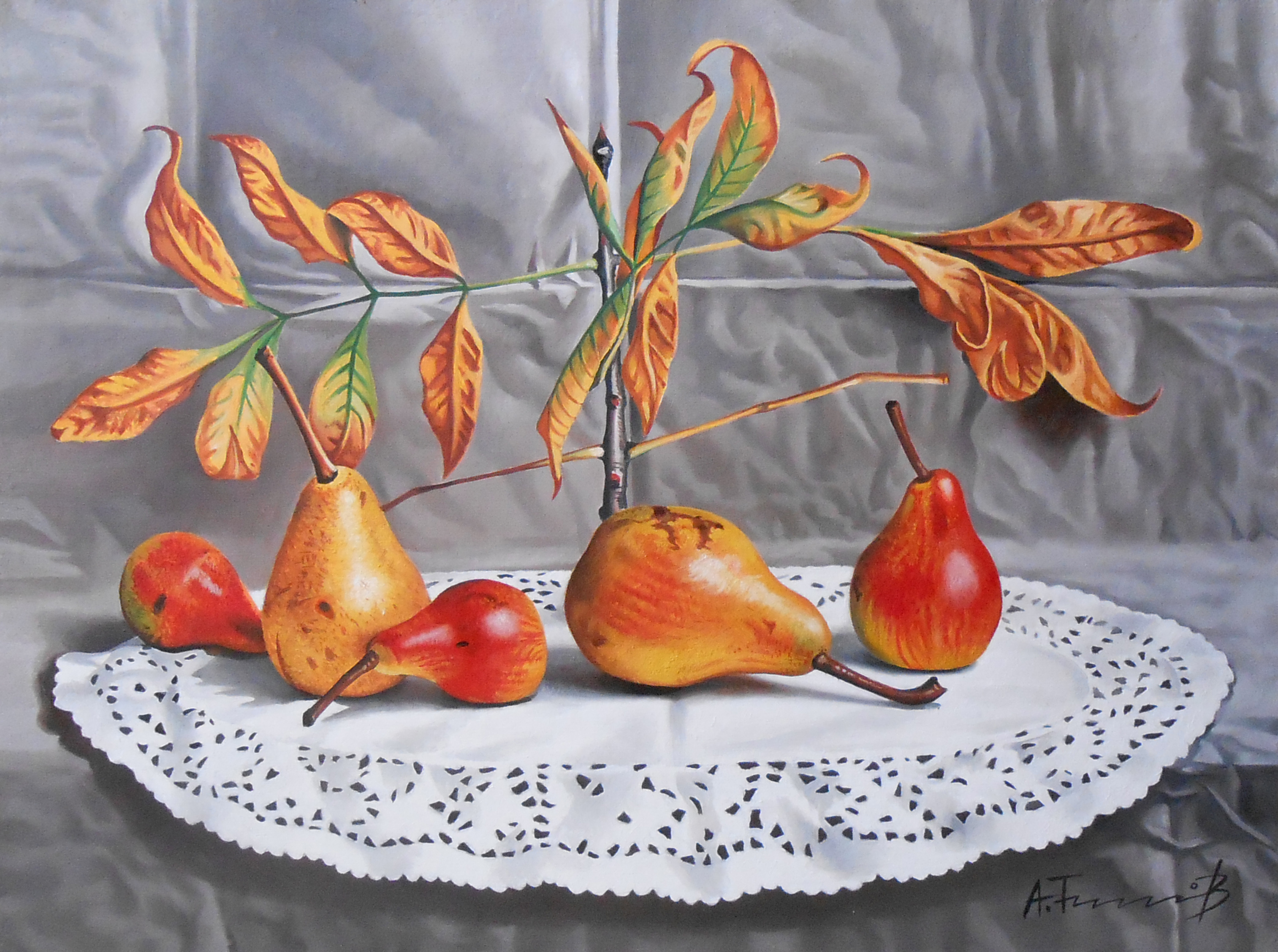 Pears with autumn leaves