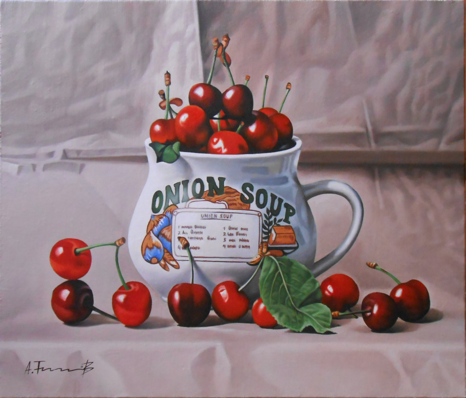 Still Life With Cherries in a Bowl