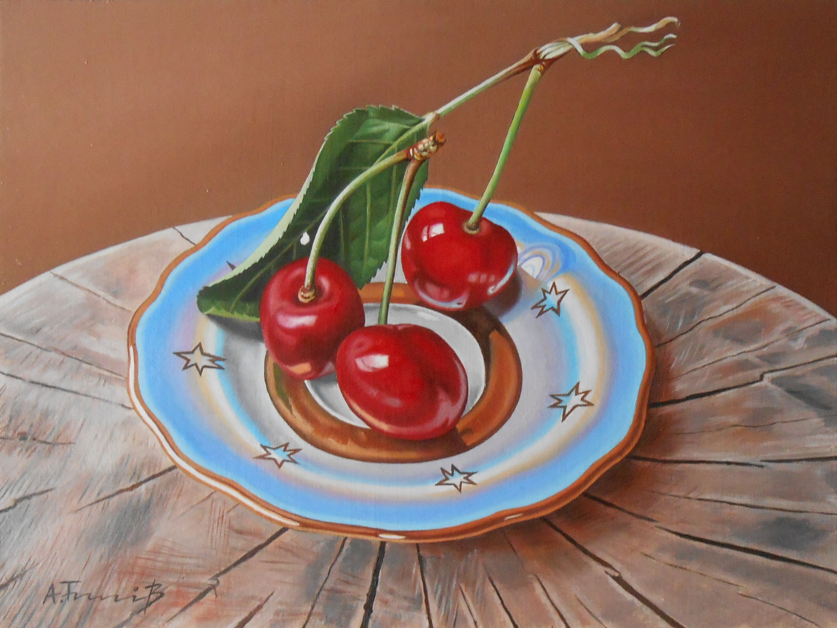 Still Life with Cherries on a Log