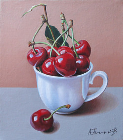 Cherries in a White Cup