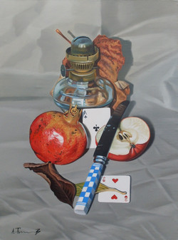 Pomegranate, Apple, and Knife