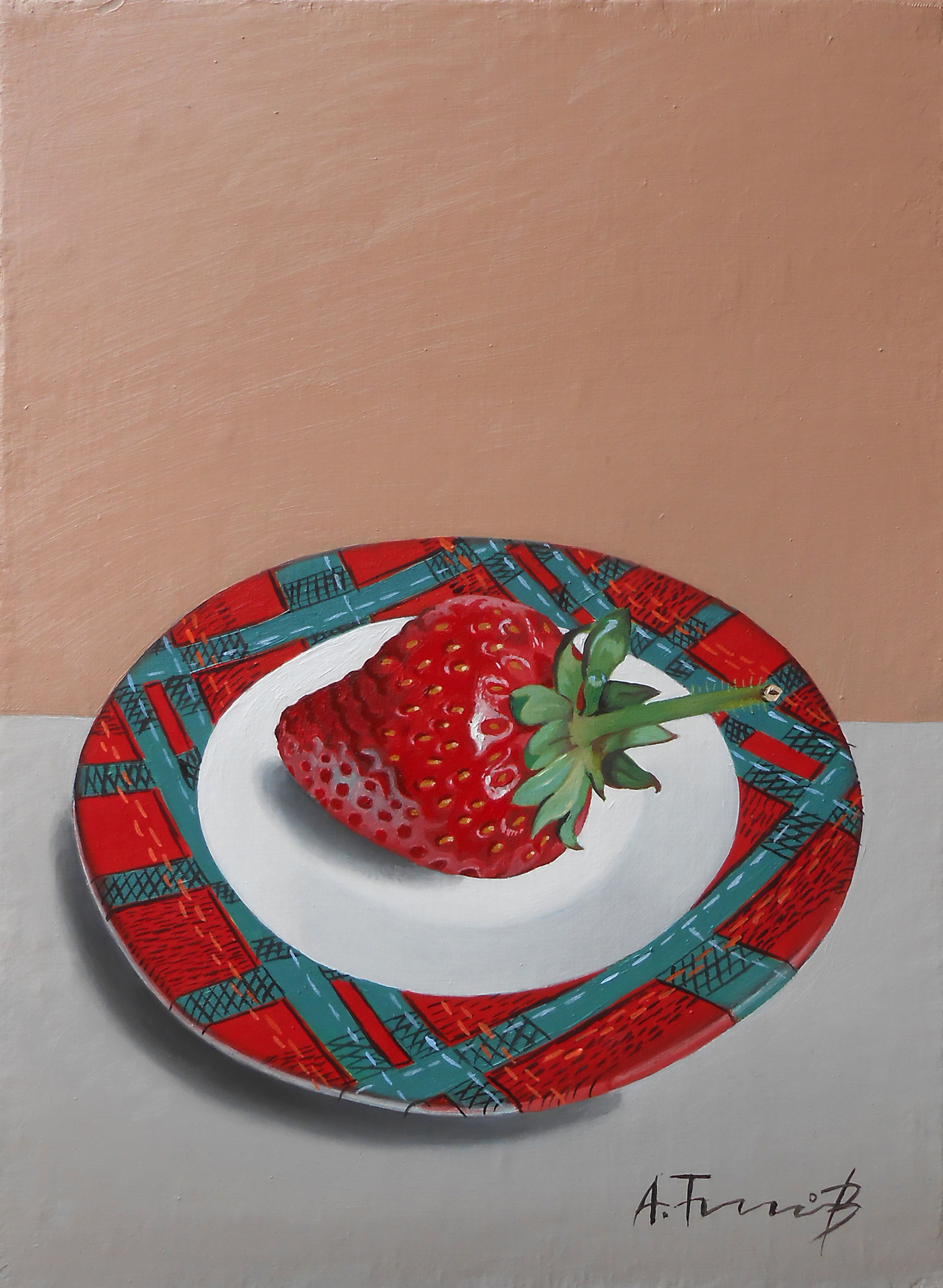 Still Life with Strawberry on Plat