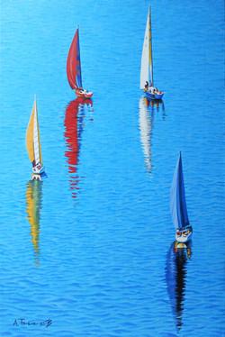 Seascape with Sailboats