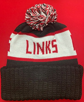 LINKS BLACK/WHITE RED STOCKING CAP