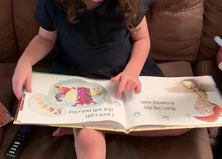 Learning to read with picture book, Mom Needs a Dinosaur!