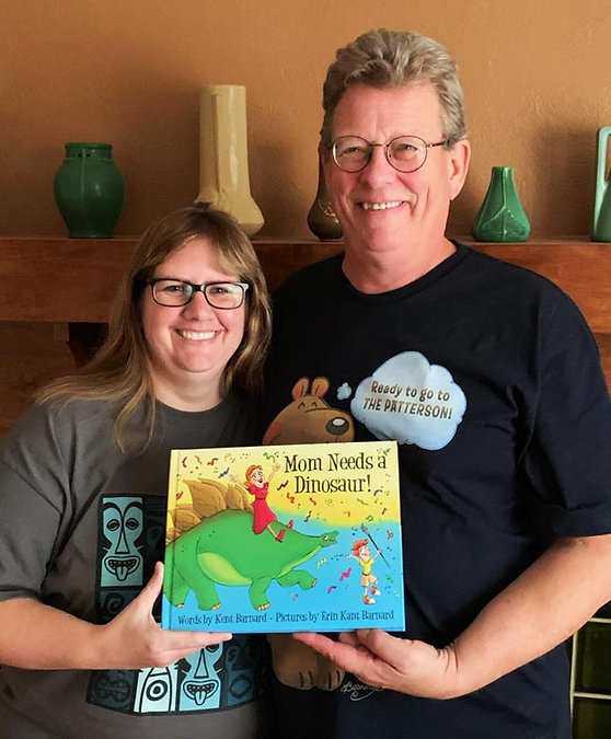 Illustrator Erin Kant Barnard and author Kent Barnard with their first picture book together, Mom Needs a Dinosaur!