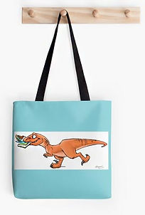 Mom Needs a Dinosaur! raptor fetching a book and tea tote bag
