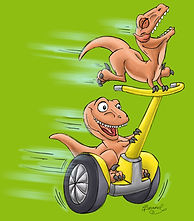 Raptors riding segway from picture book, Mom Needs a Dinosaur!