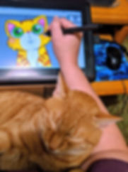 Rocket the cat providing illustrator Erin Kant Barnard with moral support!
