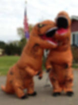 The Barnards in t-rex costumes for Halloween!