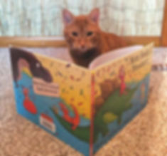 Rocket the Cat reading his favorite picture book, Mom Needs a Dinosaur!