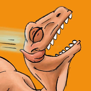 Raptor laughing illustration from picture book Mom Needs a Dinosaur!