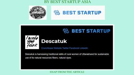 """BEST STARTUP ASIA NAMES """"DESCAT-UK"""" AMONG THE TOP FASHION AND TEXTILE STARTUP IN INDIA"""
