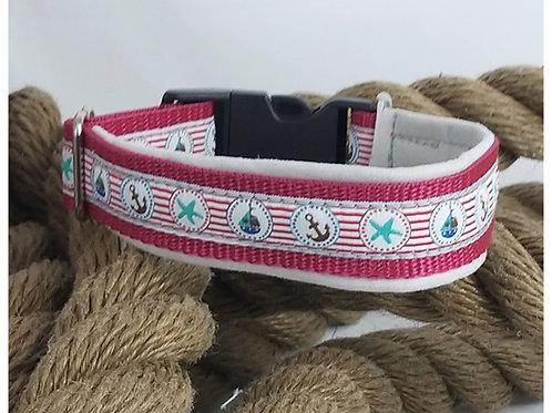 Hundehalsband pink mit maritimen Motiven