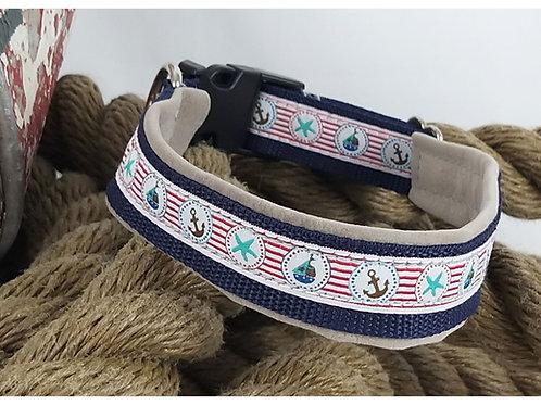 Hundehalsband marineblau m. maritimen Motiven