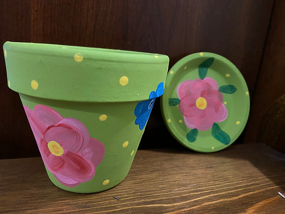 Small painted plant pot