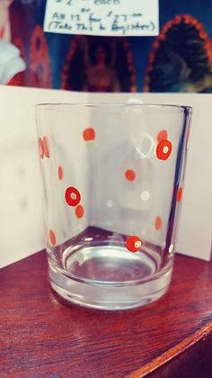 Orange/white dotted glass