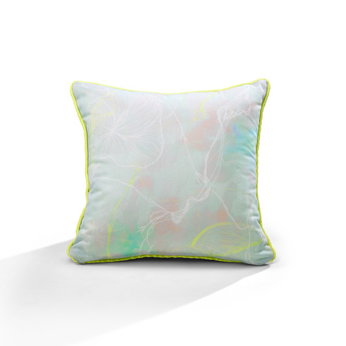Lippy Flowers piping cushion (aqua)