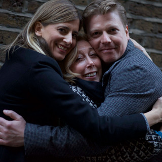 Group hug: Christy Meyer (Chrissie), Nancy Baldwin (Stephanie) and David Menkin (Daniel).