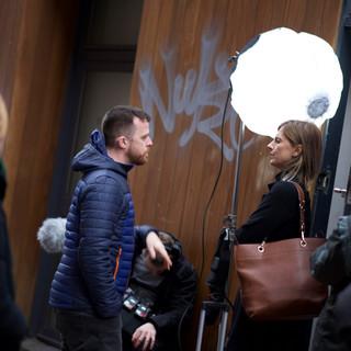 Writer/Director Sam Peter Jackson talking to actor Christy Meyer (Chrissie).