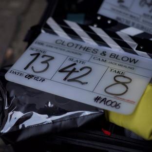 Between scenes at 'Clothes & Blow'.