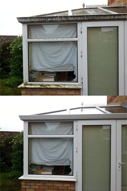 Conservatory cleaning before and after