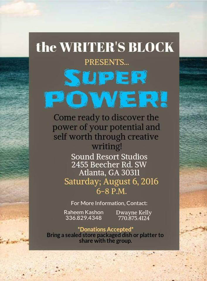 8th Writer's Block Event flyer