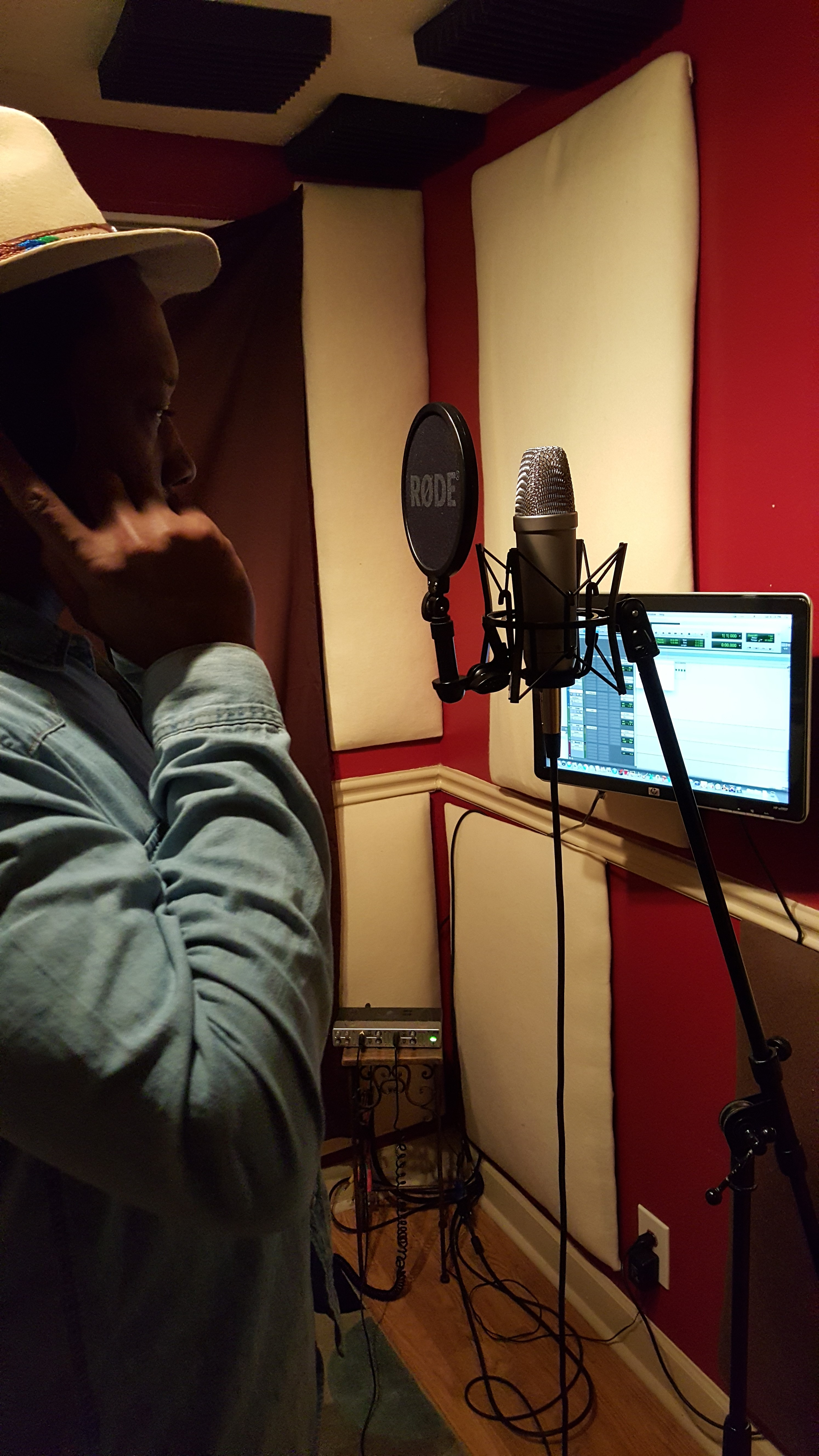 Raheem Kashon in the vocal booth